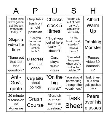 Carps Mannerisms Bingo Card