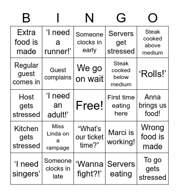 Sagebrush Bingo Card