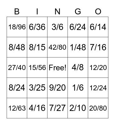 Multiplying Fractions Bingo Card