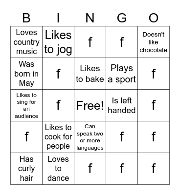 Find Someone Who.... Bingo Card