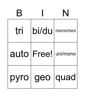 Word Detectives II BINGO Card