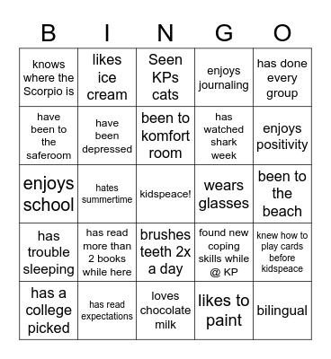 kidspeace Bingo Card