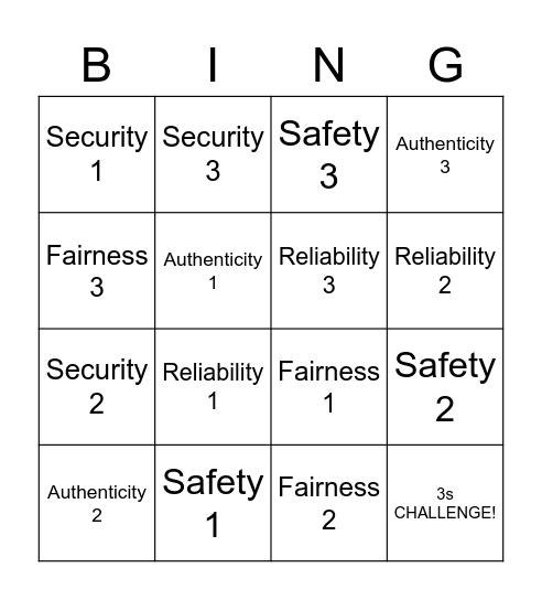 Community Standards Bingo Card