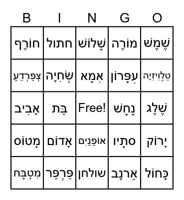 BB Vocab game 1 Bingo Card