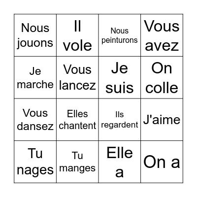 Les verbes - er Bingo Card