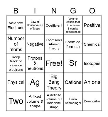 Zoe's Chemistry Review Bingo! Bingo Card