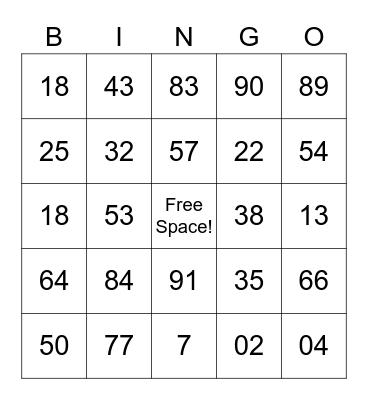 Card #1 Bingo Card