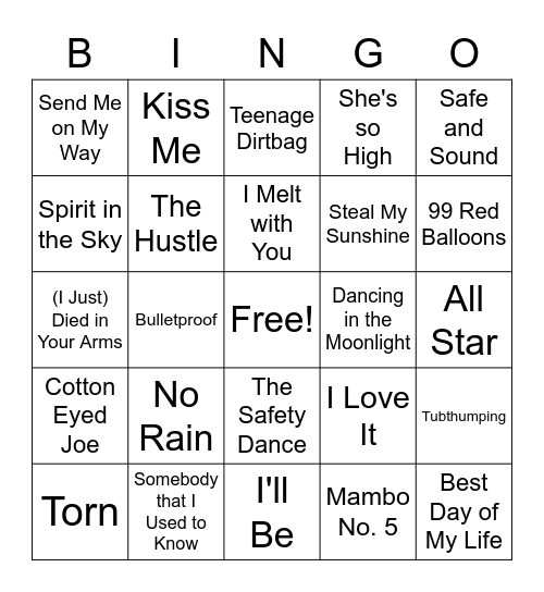 Music Bingo: One-Hit Wonders Bingo Card