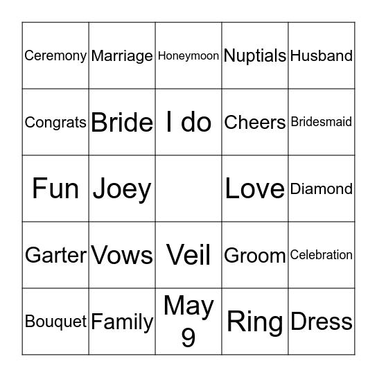 Neslie & Joey's Wedding Shower Bingo Card