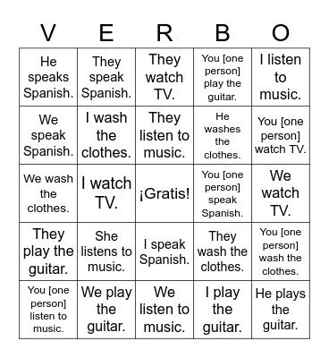 Verbos -ar Bingo Card