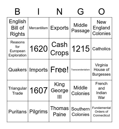 8th Grade Social Studies Bingo Card
