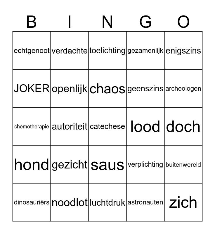 Woordpakket 14 Bingo Card