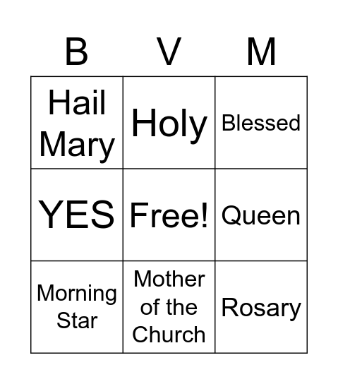 MARY Bingo Card