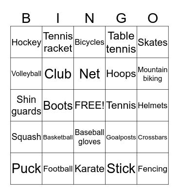 Sport Equipments Bingo Card