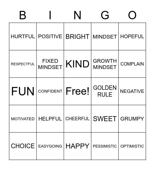 ATTITUDE Bingo Card
