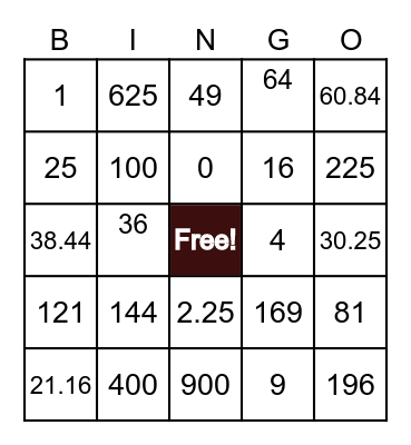 Bingo^2 Bingo Card