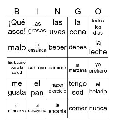 Spanish 1 Bingo Card