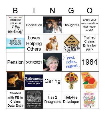 Cathy's Retirement Bingo Card
