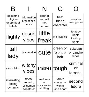 Dennis coded-character Bingo Card