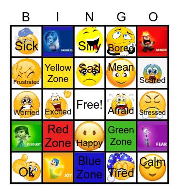 Zones of Regulation Bingo Card