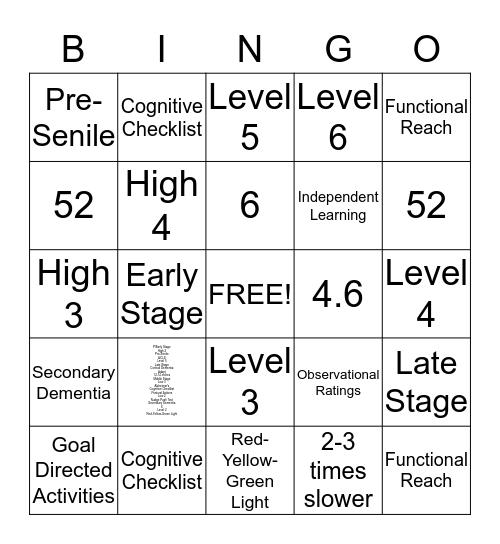 Dementia Bingo Card