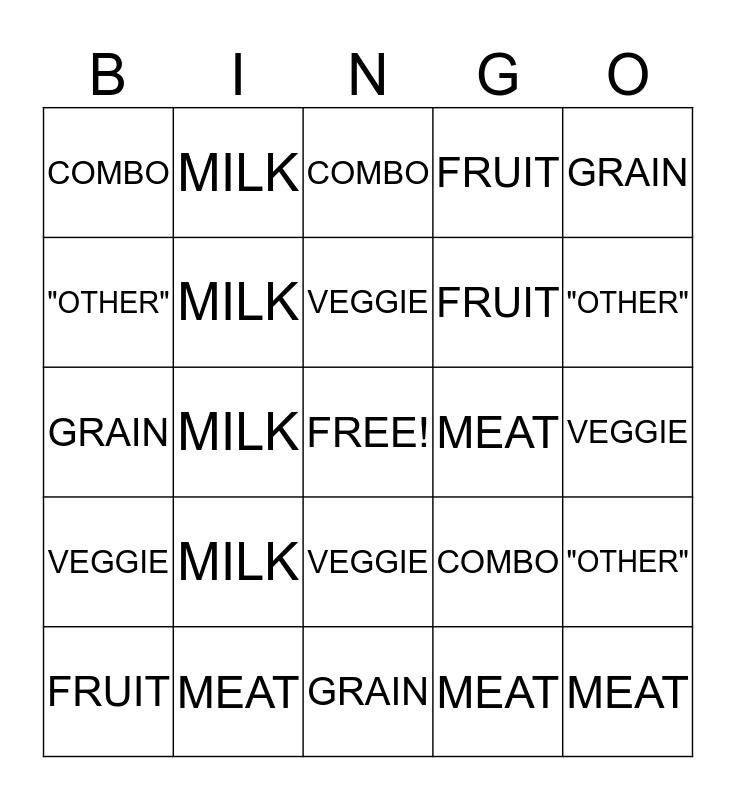 Food Model Bingo Card