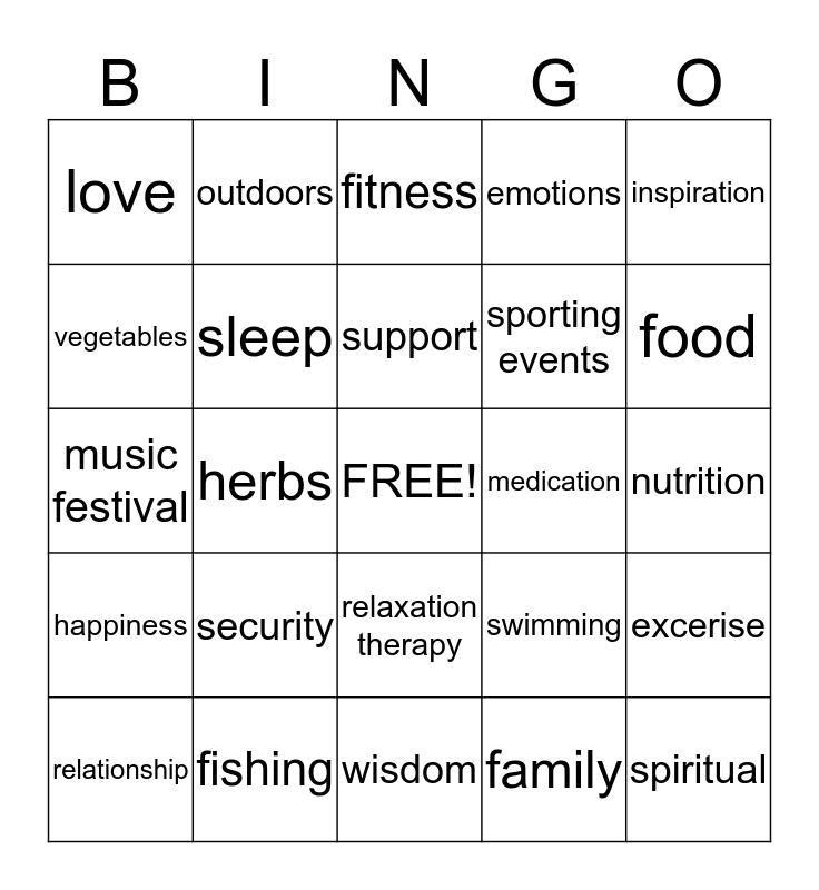 Health and Wellness Bingo Card