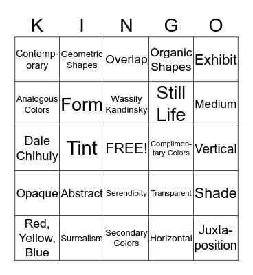 Mrs. King's Art Bingo Card