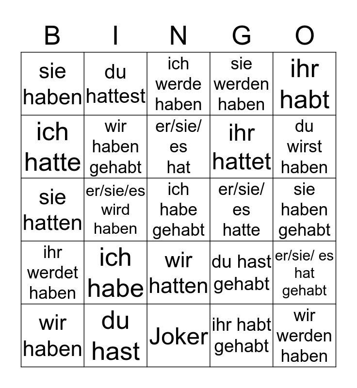 Zeitform: Hilfsverb haben Bingo Card