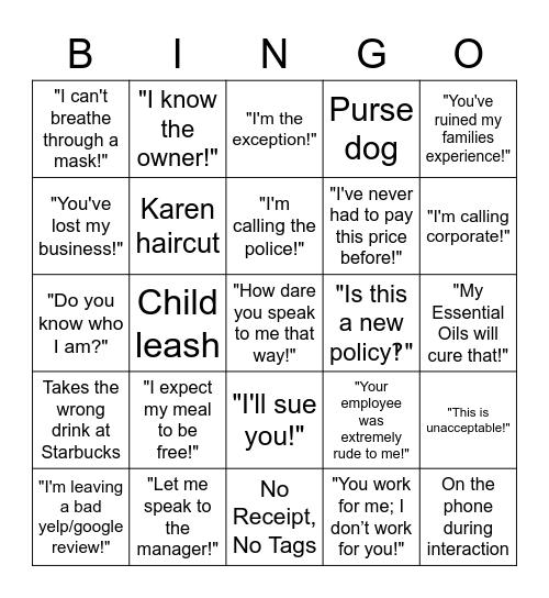 Karen Things Bingo Card