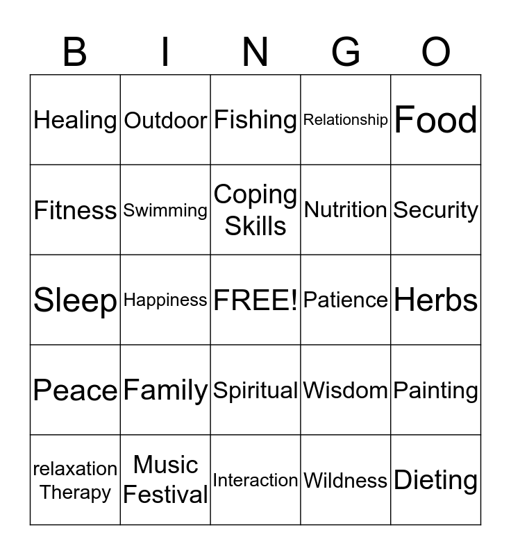 Health and Wellness Bingo Card