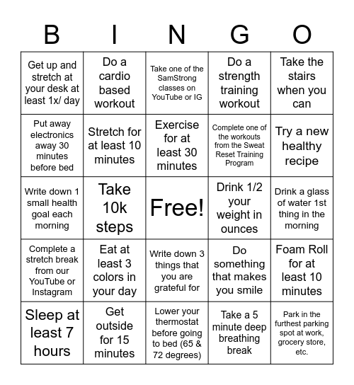 Sweat to Reset Bingo Card Bingo Card