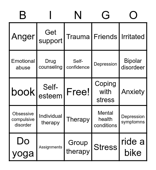 Coping with Stress Bingo Card