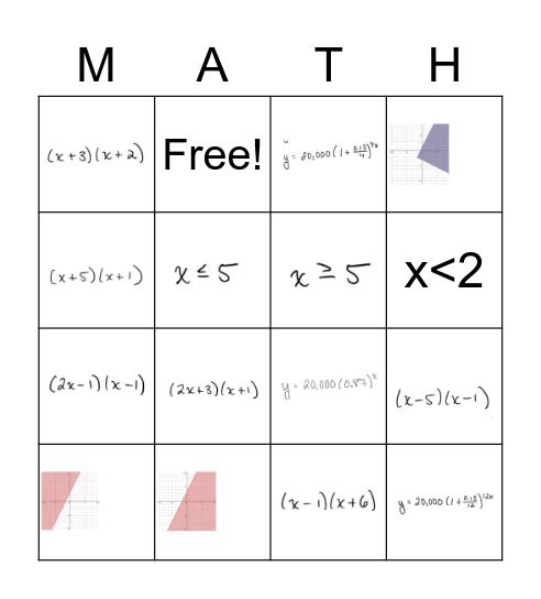Algebra I Final Exam Review Bingo Card