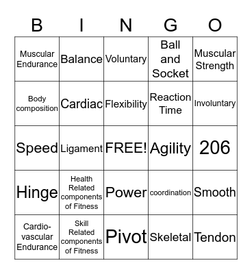 Fitness, Muscular System and Skeletal System Bingo Card