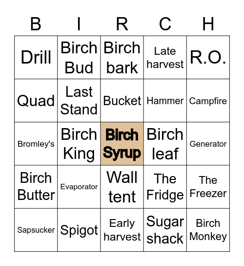 Birch Bingo Card