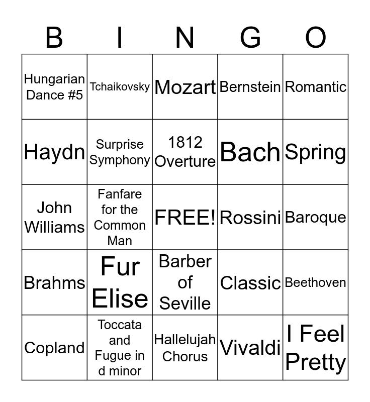 Classical Music Composers Bingo Card