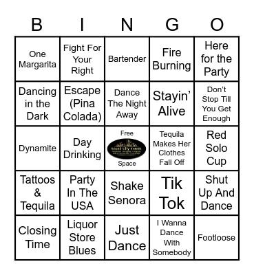Drink, Dance & Party Music Bingo! Bingo Card