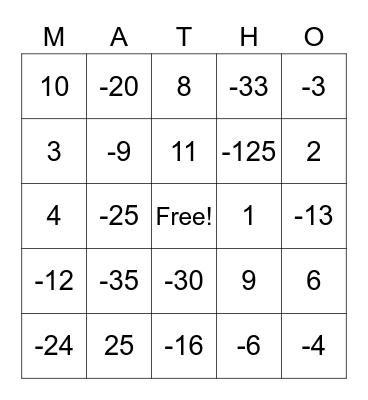 Integer Multiplication/Division Matho Bingo Card