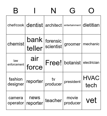 Jobs and Career Bingo Card