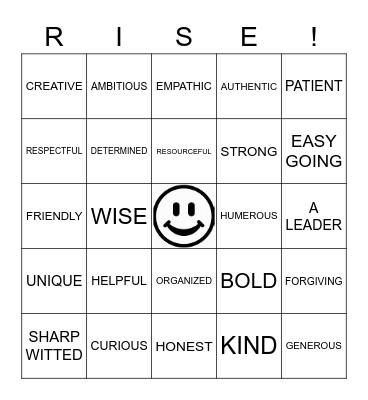 RISE UP! Bingo Card