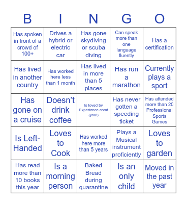 Experience.com People Bingo: Find someone who fits each criteria, fill in their name, and learn more about them! You can only use a person's name ONCE on your sheet! Bingo Card