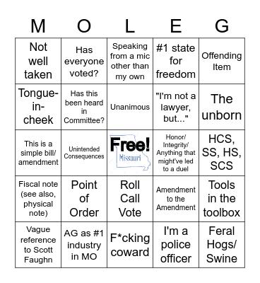 House Floor Bingo Card