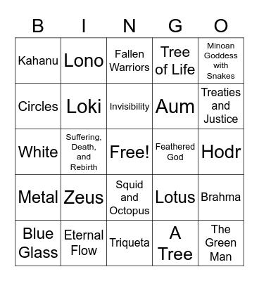 Symbols of Ancient Cultures Bingo Card
