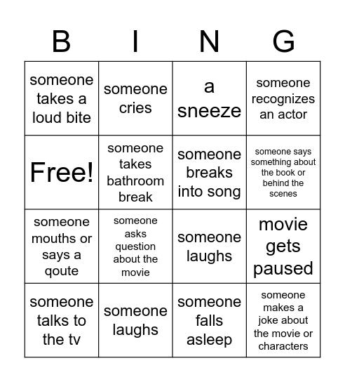 audience reaction movie night bingo Card