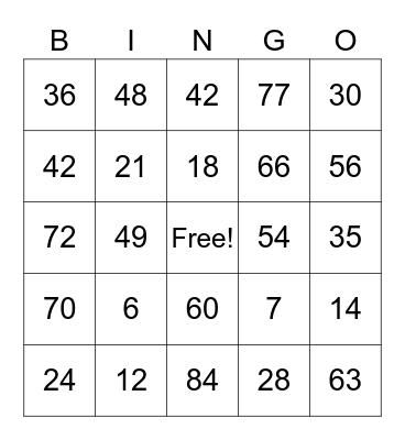 Multiplication 6 and 7 Bingo Card