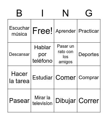 verbios en espanol Bingo Card