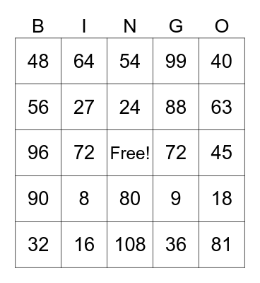 Multiply by 8 and 9 Bingo Card