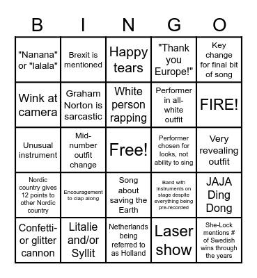 Eurovision 2021 Bingo Card
