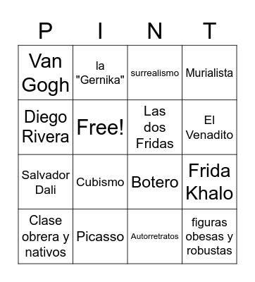 Pintores famosos Bingo Card